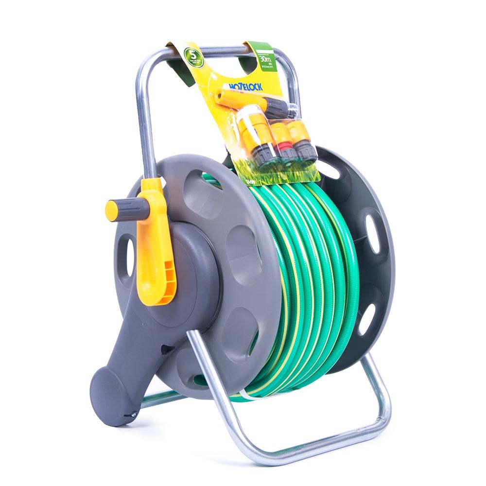 Hozelock Hose Reel with 30m Ultraflex Hose 60 Meters Fittings 13mm hose